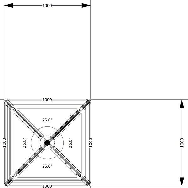 1000 x 1000 Atlas Aluminium Roof Lantern