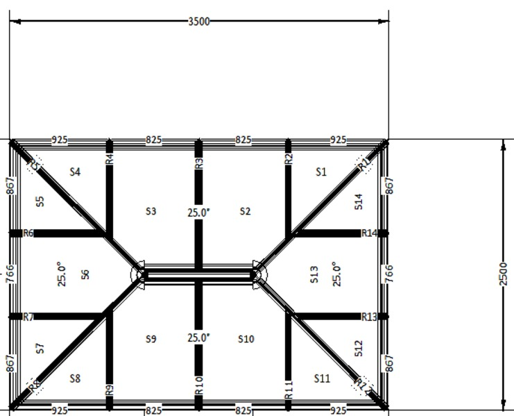 3500 x 2500 Atlas Aluminium Roof Lantern